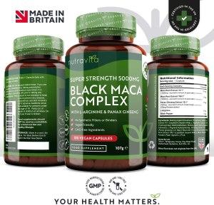 BLACK MACA  Complexe d'ARGININE Bio et gélules VEGAN  NUTRAVITA